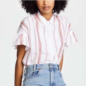 MADEWELL Red Stripe w/ Ruffle Sleeve Button Down